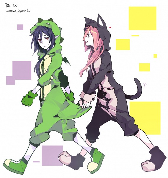 Tags: Anime, Curryuku, Adventure Time, Princess Bonnibel Bubblegum, Marceline Abadeer, Dinosaur Costume, Cat Costume, Green Gloves, Kigurumi, Tumblr, Fanart From Tumblr, Fanart, Bubbline