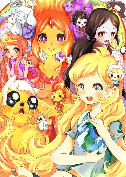 Tags: Anime, Pasuteru-usagi, Adventure Time, Ice King, Prince Bubba Gumball, Flame Prince, Cake the Cat, Flame Princess, Princess Bonnibel Bubblegum, Lumpy Space Prince, Finn the Human, Lady Rainicorn, Marshall Lee the Vampire King