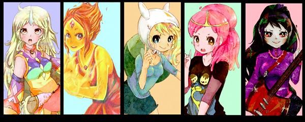 Tags: Anime, Pasuteru-usagi, Adventure Time, Princess Bonnibel Bubblegum, Fionna the Human Girl, Flame Princess, Marceline Abadeer, Lady Rainicorn, Electric Guitar, Bass Guitar, Facebook Cover, Fanart From DeviantART, deviantART