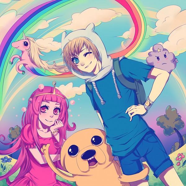 Tags: Anime, Accelerin, Kikukikaku, Adventure Time, Finn the Human, Lady Rainicorn, Princess Bonnibel Bubblegum, Jake the Dog, Lumpy Space Princess, Pink Skin, Fanart, deviantART, Fanart From DeviantART