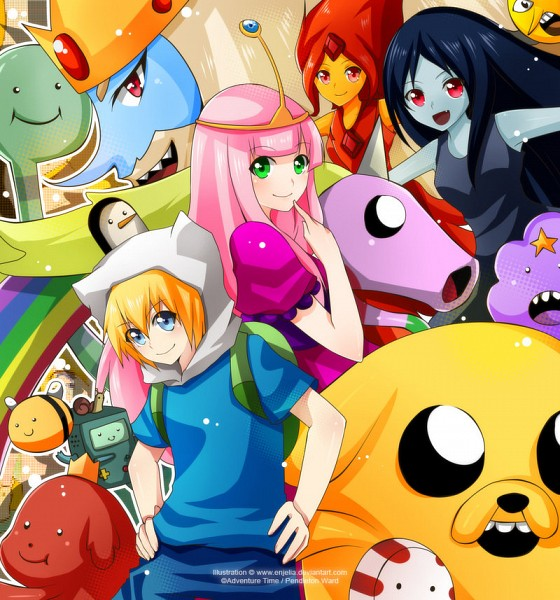 Tags: Anime, Enjelia, Adventure Time, Flame Princess, Ice King, BMO, Princess Bonnibel Bubblegum, Hot Dog Princess, Finn the Human, Jake the Dog, Peppermint Butler, Marceline Abadeer, Lady Rainicorn