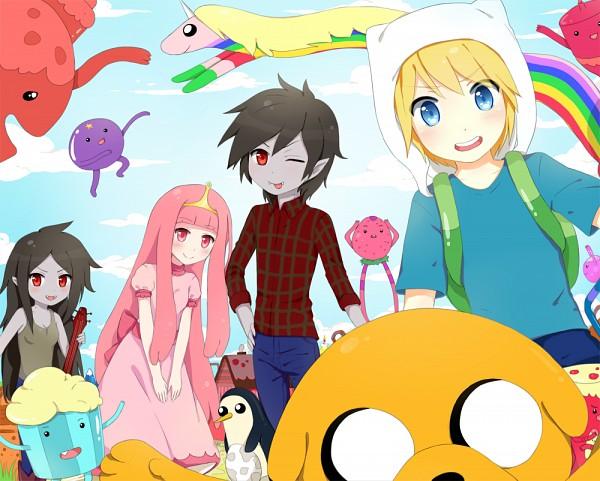 Tags: Anime, Yuugalanna, Adventure Time, Finn the Human, Princess Bonnibel Bubblegum, Marceline Abadeer, Marshall Lee the Vampire King, Jake the Dog, Lady Rainicorn, Gunter (Adventure Time), Bear Hood, Pink Skin, deviantART