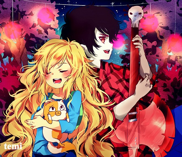 Tags: Anime, Temiji, Adventure Time, Cake the Cat, Marshall Lee the Vampire King, Fionna the Human Girl, Bass Guitar, Fiolee, deviantART, Fanart, Fanart From DeviantART