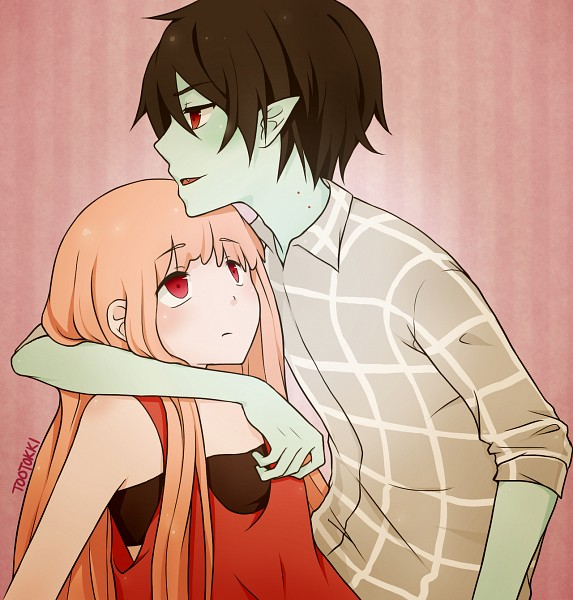 Tags: Anime, Tootokki, Adventure Time, Marshall Lee the Vampire King, Princess Bonnibel Bubblegum, Pink Skin, deviantART, Fanart, PNG Conversion