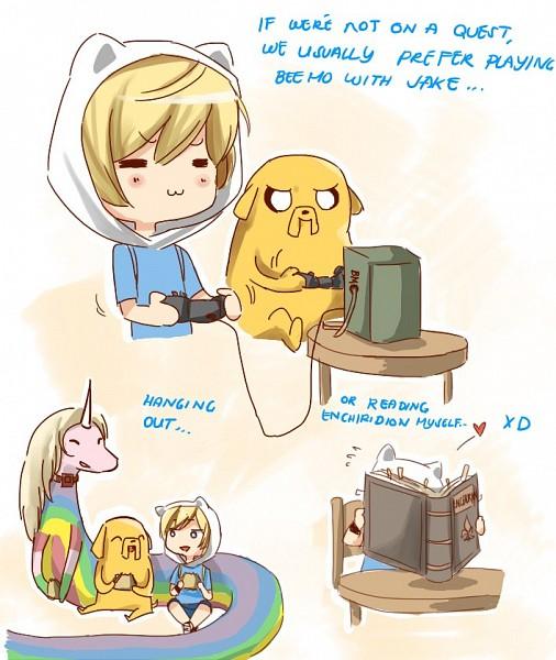 Tags: Anime, Adventure Time, Lady Rainicorn, Jake the Dog, Finn the Human, BMO, Fanart