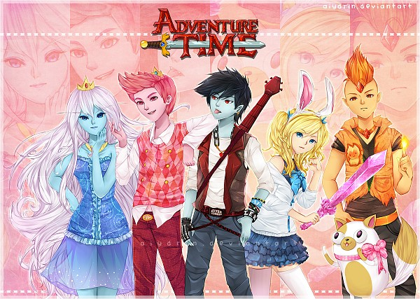 Tags: Anime, Aiydrin, Adventure Time, Marshall Lee the Vampire King, Fionna the Human Girl, Flame Prince, Prince Bubba Gumball, Ice Queen (Adventure Time), Cake the Cat, Orange Skin, Fiery Hair, Fanart From DeviantART, Fanart