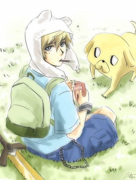 Tags: Anime, HyLian-Of-Ooo, Adventure Time, Finn the Human, Jake the Dog, Bear Hat, Sitting On Grass, Fanart, Fanart From DeviantART, deviantART