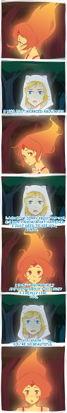 Tags: Anime, Maruta-chan6, Adventure Time, Finn the Human, Flame Princess, Fiery Hair, Orange Skin, PNG Conversion, deviantART, Comic