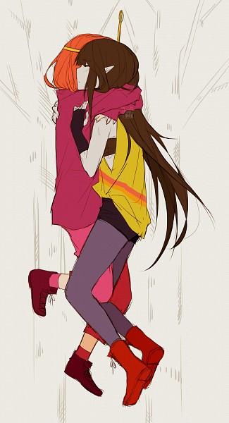 Tags: Anime, Tootokki, Adventure Time, Princess Bonnibel Bubblegum, Marceline Abadeer, Hug Neck, Pink Skin, Tumblr, Mobile Wallpaper, Bubbline