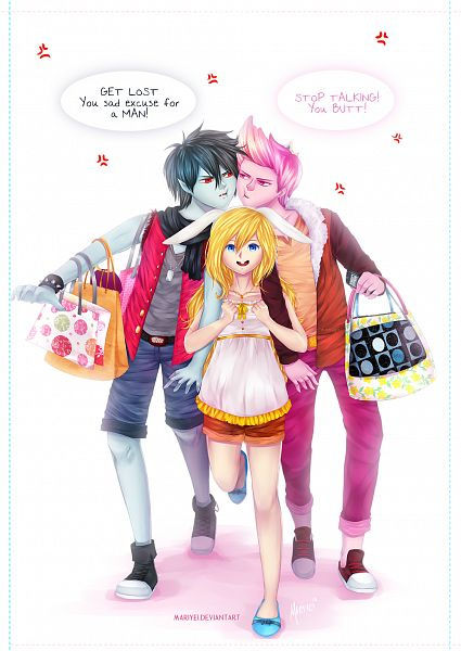 Tags: Anime, Aiydrin, Adventure Time, Marshall Lee the Vampire King, Fionna the Human Girl, Prince Bubba Gumball, Shopping Bag, Pink Skin, Fanart, PNG Conversion, Mobile Wallpaper, Fanart From DeviantART, deviantART