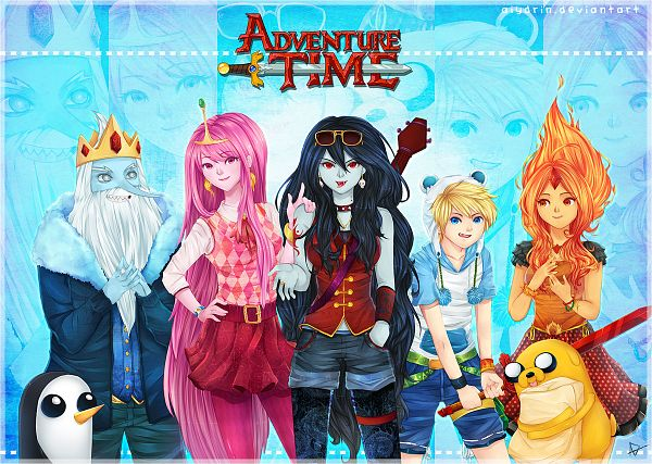 Tags: Anime, Aiydrin, Adventure Time, Jake the Dog, Finn the Human, Flame Princess, Marceline Abadeer, Gunter (Adventure Time), Ice King, Princess Bonnibel Bubblegum, Spiked Collar, Pink Skin, Fiery Hair