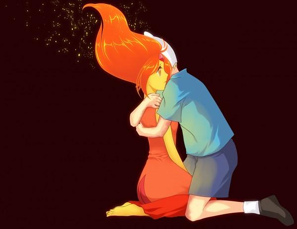 Tags: Anime, Mirakurunaito, Adventure Time, Flame Princess, Finn the Human, Gold Skin, Orange Skin, Fiery Hair, Fanart From DeviantART, deviantART, Tumblr, Fanart, PNG Conversion