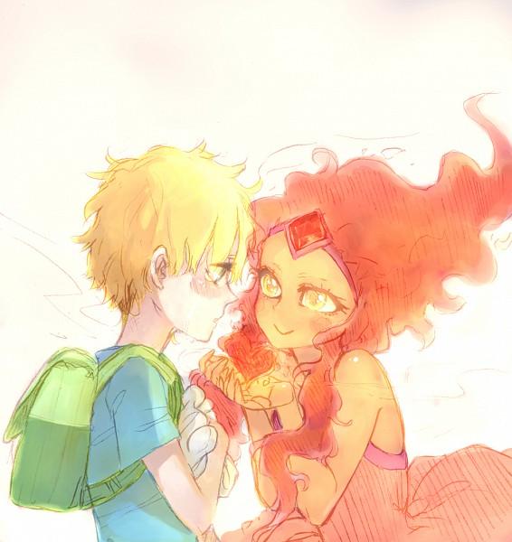 Tags: Anime, Rusky-boz, Adventure Time, Finn the Human, Flame Princess, Fiery Hair, Orange Skin, Fanart, Tumblr, Sketch