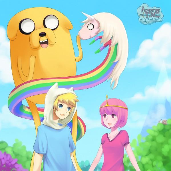Tags: Anime, ragecndy, Adventure Time, Lady Rainicorn, Finn the Human, Princess Bonnibel Bubblegum, Jake the Dog, Snail, Pink Skin, Fanart From DeviantART, deviantART, Fanart, PNG Conversion