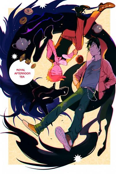 Tags: Anime, shishio*, Adventure Time, Marshall Lee the Vampire King, Prince Bubba Gumball, Lord Monochromicorn, Pink Skin, Bite Marks, Mini Crown, Mobile Wallpaper, Pixiv, Fanart From Pixiv, Fanart