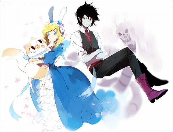 Tags: Anime, hakusai, Adventure Time, Fionna the Human Girl, Cake the Cat, Marshall Lee the Vampire King, Fanart, Fanart From Pixiv, Pixiv
