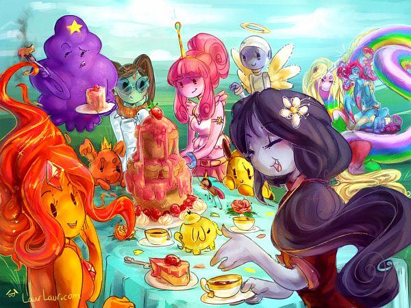 Tags: Anime, Laur, Adventure Time, Lumpy Space Princess, Doctor Princess, Flame Princess, Marceline Abadeer, Lady Rainicorn, Bee Princess, Princess Bonnibel Bubblegum, Hot Dog Princess, Pink Skin, Orange Skin