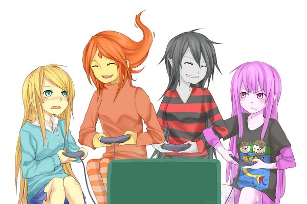 Tags: Anime, Toraifu, Adventure Time, Fionna the Human Girl, Flame Princess, BMO, Marceline Abadeer, Princess Bonnibel Bubblegum, Playing Games, Orange Skin, Fanart From DeviantART, deviantART, Fanart