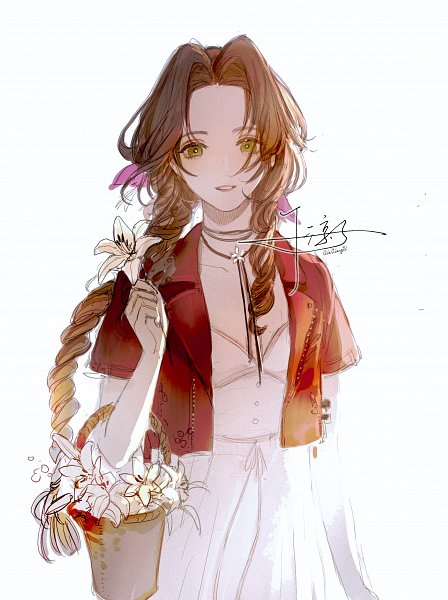 Tags: Anime, Senryoko, Final Fantasy VII Remake, Final Fantasy VII, Aerith Gainsborough, White Lily, Fanart From Pixiv, Pixiv, Fanart