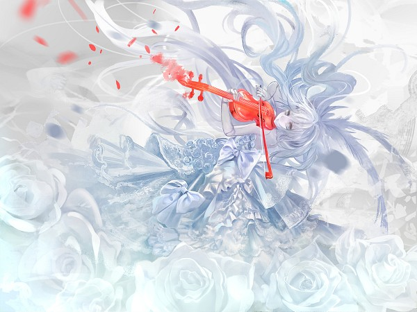 Tags: Anime, Afraco, Playing Violin, PNG Conversion, Pixiv, Original