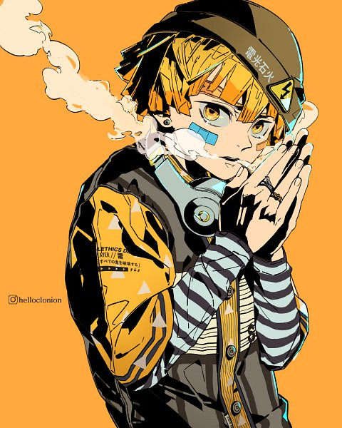 Tags: Anime, Helloclonion, Kimetsu no Yaiba, Agatsuma Zenitsu, Bandaged Cheek, Yellow, Fanart