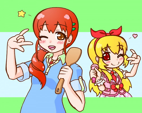 Tags: Anime, Pixiv Id 397510, Aikatsu!, Hoshimiya Ringo, Hoshimiya Ichigo, Spatula, I Love You Gesture, Pixiv, Fanart From Pixiv, Fanart