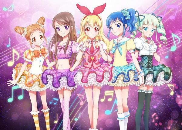 Tags: Anime, Chiririn, Aikatsu!, Kiriya Aoi, Hoshimiya Ichigo, Toudou Yurika, Arisugawa Otome, Shibuki Ran, Music Staff, Orange Bow, Fanart From Pixiv, Pixiv, Fanart