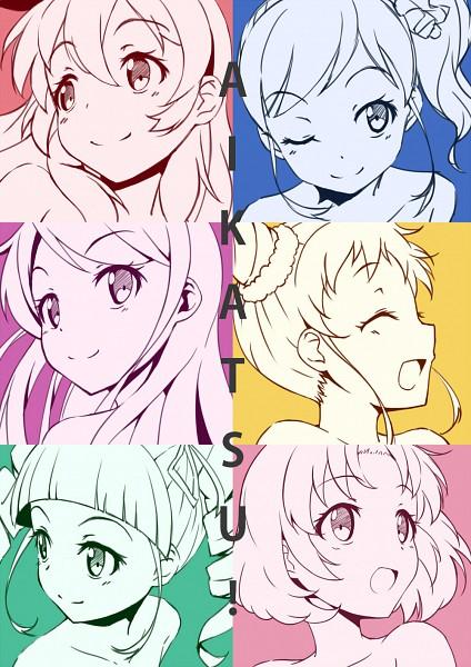 Tags: Anime, Chomo (Asymmate), Aikatsu!, Arisugawa Otome, Shibuki Ran, Kiriya Aoi, Kitaouji Sakura, Hoshimiya Ichigo, Toudou Yurika, Aqua Background, Fanart, Fanart From Pixiv, Pixiv