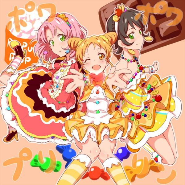 Tags: Anime, Clearite, Aikatsu!, Kamiya Shion, Arisugawa Otome, Kitaouji Sakura, Orange Skirt, Fanart From Pixiv, Pixiv, Fanart