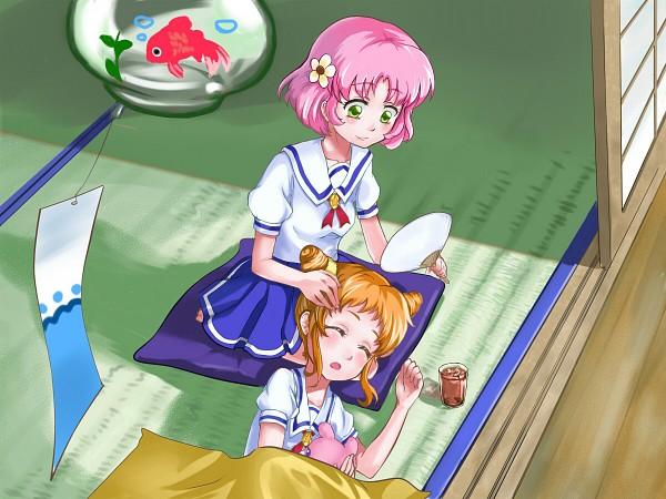 Tags: Anime, Pixiv Id 98215, Aikatsu!, Arisugawa Otome, Kitaouji Sakura, Tatami, Japanese House, Uchiwa, Pixiv, Wallpaper, Fanart From Pixiv, Fanart