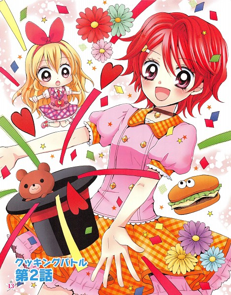 Tags: Anime, Ooka Saori, Aikatsu!, Hoshimiya Ichigo, Ichinose Kaede, Green Flower, Orange Skirt, Fast Food, Magician (Entertainer), Official Art, Manga Color, Scan