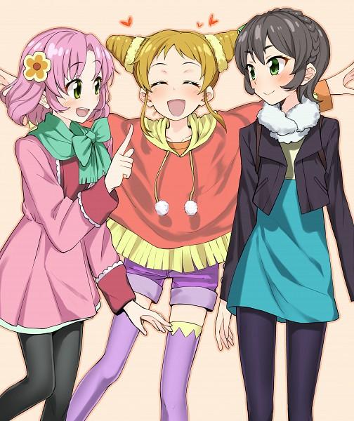 Tags: Anime, Couzone, Aikatsu!, Kitaouji Sakura, Kamiya Shion, Arisugawa Otome, Poncho, Pink Shorts, Pixiv, Fanart, Fanart From Pixiv