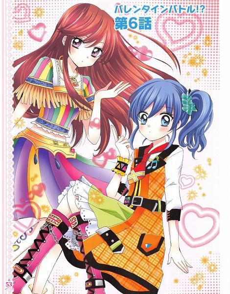 Tags: Anime, Ooka Saori, Aikatsu!, Kiriya Aoi, Shibuki Ran, Official Art, Manga Page, Chapter Cover, Scan, Manga Color