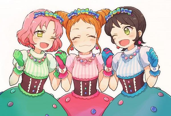 Tags: Anime, Asami (Highway), Aikatsu!, Arisugawa Otome, Kitaouji Sakura, Kamiya Shion, Pink Gloves, Green Handwear, Green Gloves, Powa Powa Puririn, Pink Handwear, Fanart, Fanart From Pixiv