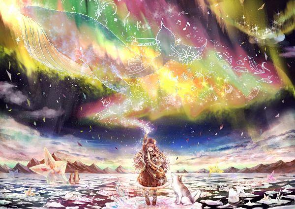Tags: Anime, Akabane (Zebrasmise), North Pole, Aquatic Animal in the Sky, Whale, Siberian Husky, Surreal, Iceberg, Aurora Borealis, Original, Oekaki Musume, Pixiv