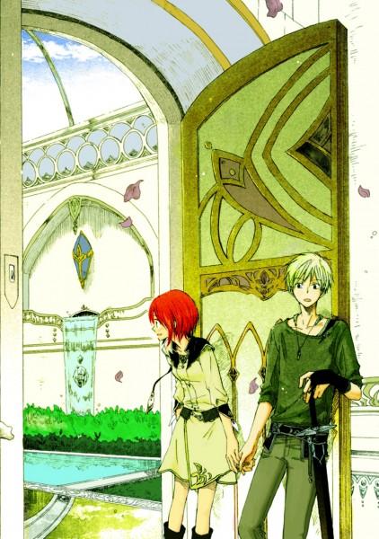 Tags: Anime, Akizuki Sorata, Akagami no Shirayukihime, Shirayuki (Akagami no Shirayukihime), Zen Wistalia, Garden, Mobile Wallpaper, Scan, Official Art