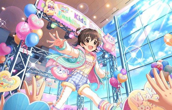 Tags: Anime, Annin Douhu, THE iDOLM@STER: Cinderella Girls, Akagi Miria, Reaching Up, Official Card Illustration, Official Art, Twitter, Miria Akagi