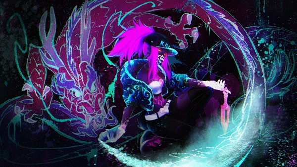 Tags: Anime, Pixiv Id 4615051, League of Legends, Akali, Bright Colors