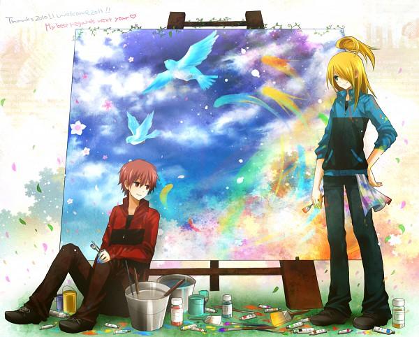 Tags: Anime, NARUTO, Sasori, Deidara, Paint Tube, Painting (Action), Brush, Painting (Object), Fanart, Artist Request, Akatsuki (NARUTO)