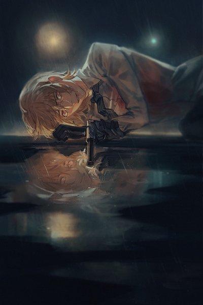 Tags: Anime, Sukly, Shin Megami Tensei: PERSONA 5, Akechi Goro, Water Reflection, Pixiv, Fanart, Fanart From Pixiv