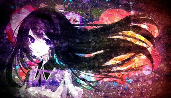 Tags: Anime, mirimo, Mahou Shoujo Madoka☆Magica, Akemi Homura, Purple Neckwear, Green Flower, PNG Conversion, Wallpaper, Fanart, Fanart From Pixiv, Pixiv