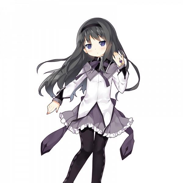 Tags: Anime, Saru Long, CyberAgent, Mahou Shoujo Madoka☆Magica, Uchi no Hime-sama ga Ichiban Kawaii, Akemi Homura, Gray Skirt, Argyle Legwear, Purple Neckwear, Official Art, PNG Conversion