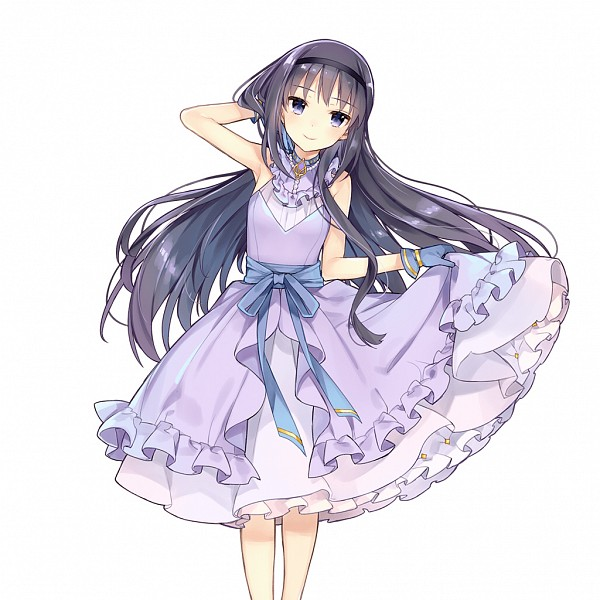 Tags: Anime, Kaguyuzu, CyberAgent, Mahou Shoujo Madoka☆Magica, Uchi no Hime-sama ga Ichiban Kawaii, Akemi Homura, Official Art, PNG Conversion