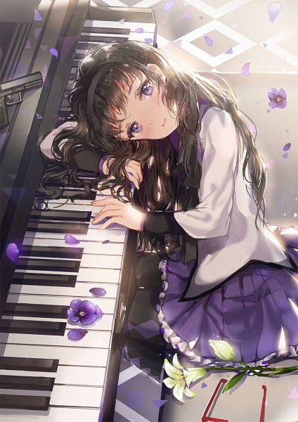 Tags: Anime, Dangmill, Mahou Shoujo Madoka☆Magica, Akemi Homura, Argyle Legwear, Violet (Flower), Twitter, Fanart From Pixiv, Pixiv, Mobile Wallpaper, PNG Conversion, Fanart