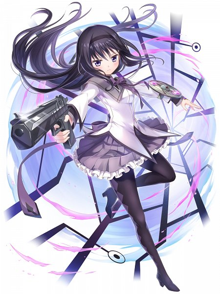 Tags: Anime, COLOPL, Mahou Shoujo Madoka☆Magica, Shironeko Project, Akemi Homura, Checkered Legwear, Official Art