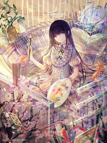 Tags: Anime, Bai Qi QSR, Mahou Shoujo Madoka☆Magica, Akemi Homura, Poker, Easel, Ace (Card), Clubs (Card), Painting (Action), Canvas, Palette (Object), Revision, Fanart From Pixiv
