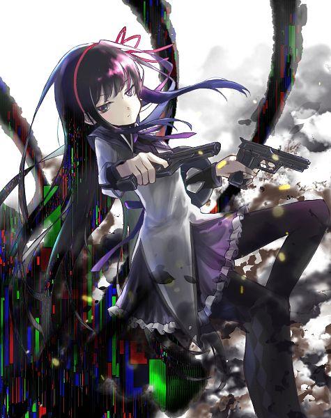 Tags: Anime, Pixiv Id 19092536, Mahou Shoujo Madoka☆Magica, Akemi Homura, Dual Guns, Fanart From Pixiv, Fanart, Pixiv
