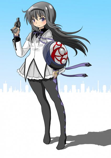 Tags: Anime, Knives (Artist), Mahou Shoujo Madoka☆Magica, Akemi Homura, Argyle Legwear, Fanart From Pixiv, Fanart, Pixiv