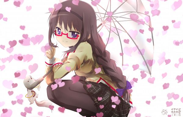 Tags: Anime, Pixiv Id 6645452, Mahou Shoujo Madoka☆Magica, Akemi Homura, Kyubee, Pixiv, Fanart From Pixiv, Fanart