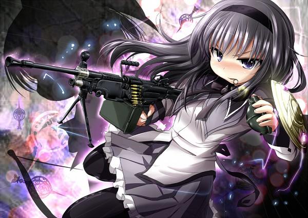 Tags: Anime, Inyu, Mahou Shoujo Madoka☆Magica, Akemi Homura, M249 Saw, Grenade, Aiming To Side, Machine Gun